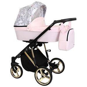 Kočárek Kunert Molto Premium dvojkombinace Zlatý rám/růžová-květiny