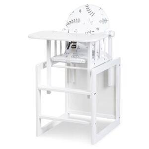 Klupś víceúčelová dřevěná jídelní židlička Lily bílá
