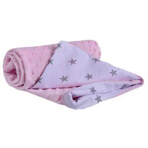 Dětská deka Medi růžová/šedé hvězdičky