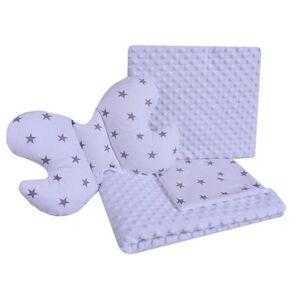 Set Medi přikrývka + 2x polštář bílá/šedé hvězdičky