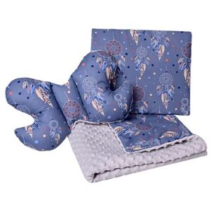 Set Medi přikrývka + 2x polštář šedá/modré lapače snů