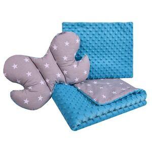 Set Medi přikrývka + 2x polštář modrá/bílé hvězdičky